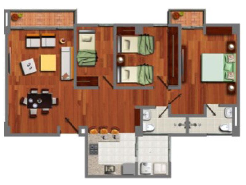 Apartamento Tipo 3. Área Construida: 85.35 m2 m2. Área Privada: 78.82 m2. *Las áreas mencionadas en este catálogo corresponden al área construida. El área construida es diferente del área privada, consulte con su asesor de ventas. Esta página está sujeta a actualización y cambios sin previo aviso.