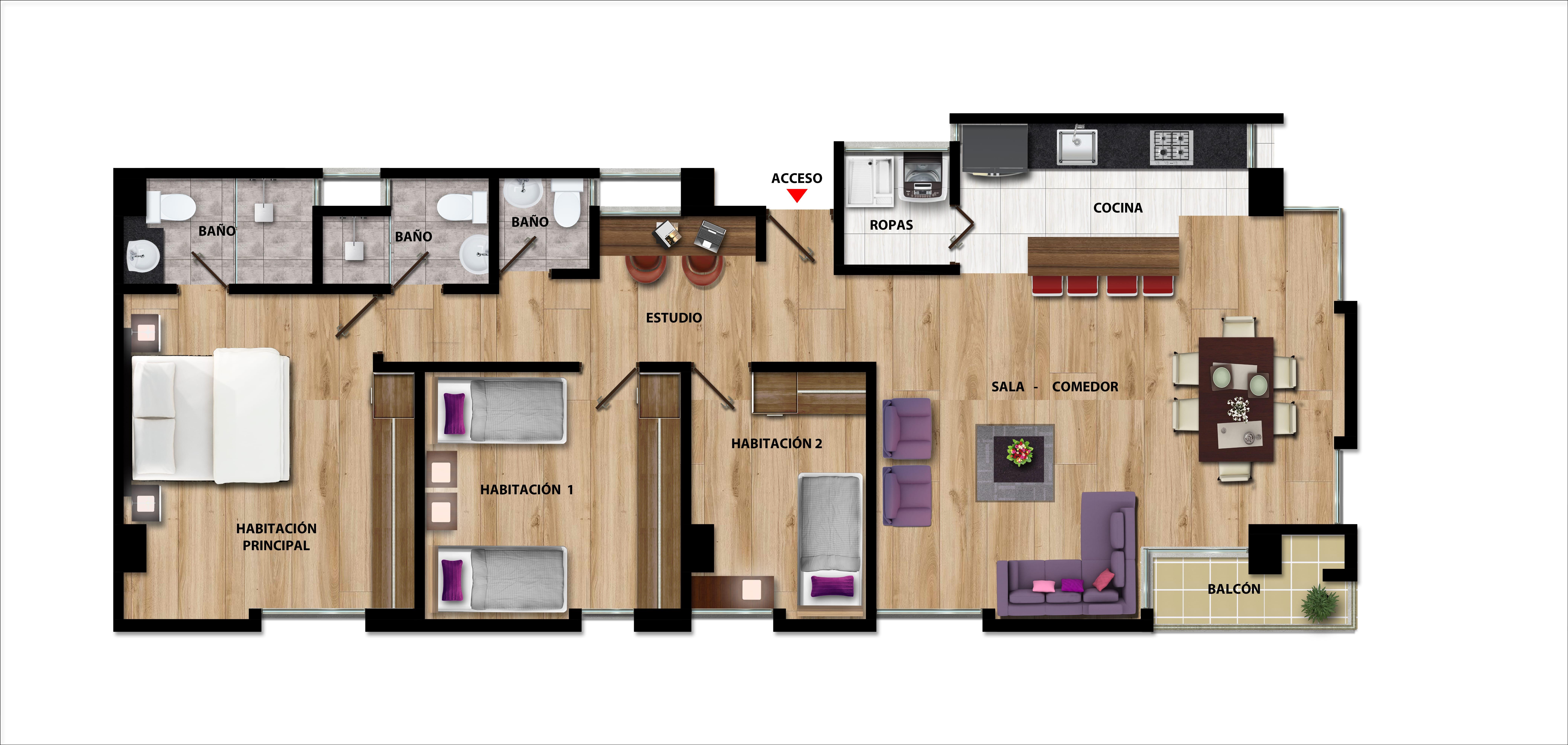 Plano apartamentos Pisos 7o y 8o