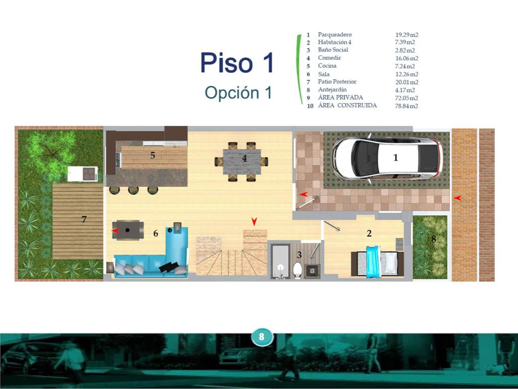 Casas del Río Ficha 2 Plano Piso 1 Casa Tipo 1 I8