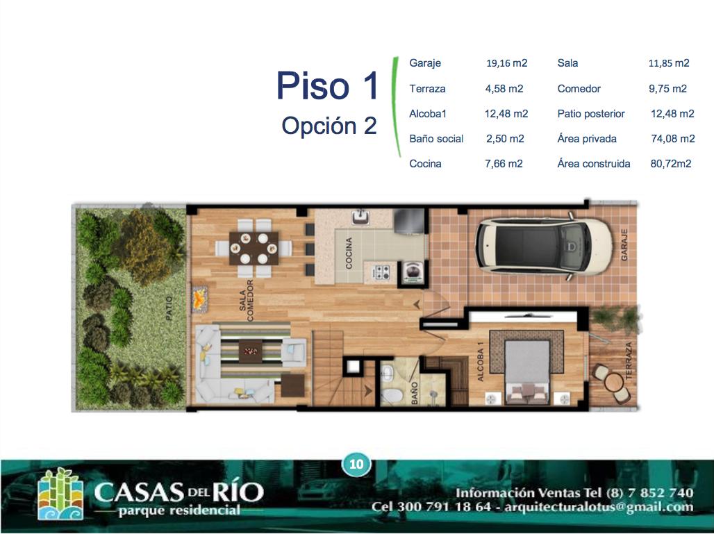 Casas del Río Ficha 2 Casa Tipo 2 Plano Piso 1 I10