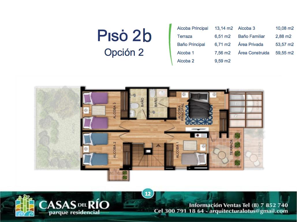 Casas del Río Ficha 2 Casa Tipo 2 Plano Piso 2 Opción 2 I12