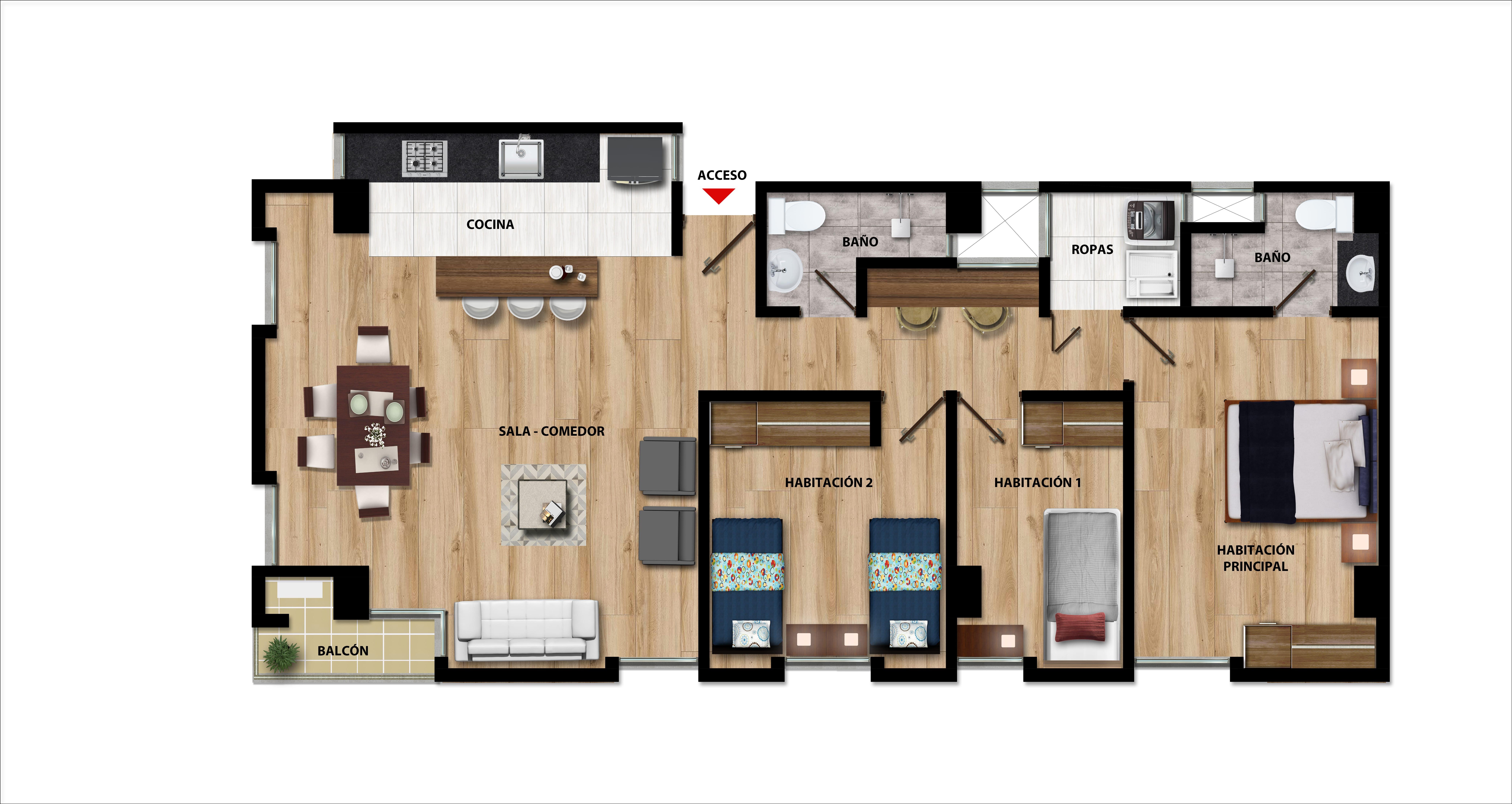 Plano Apartamentos pisos 1o y 2o